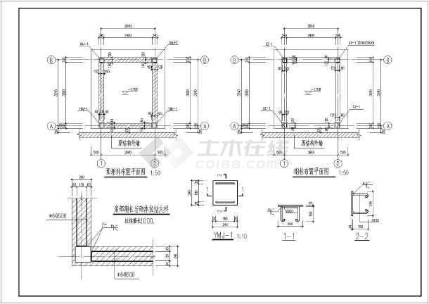 某工程钢结构室外观光电梯井道结构施工图