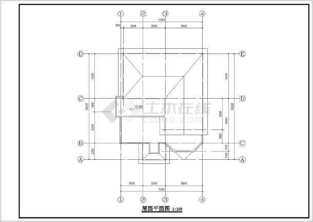 图纸包括一层平面图,二层平面图,三层平面图,屋顶平面图,正立面图等.