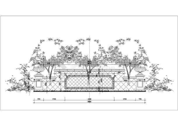 某小区欧式建筑景墙景观设计施工图纸
