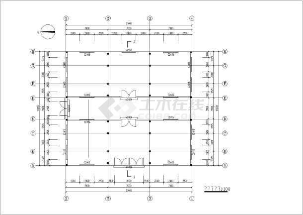 某地双跨纯木结构建筑结构图-图1