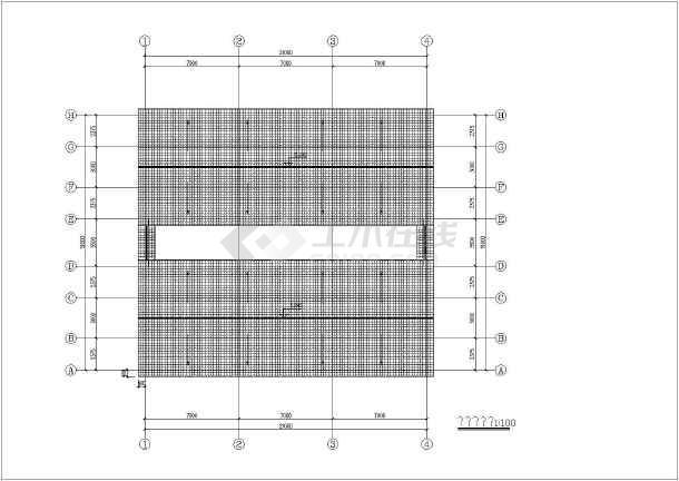 某地双跨纯木结构建筑结构图-图2