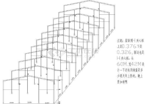 某地五金公司钢结构厂房建筑立体图