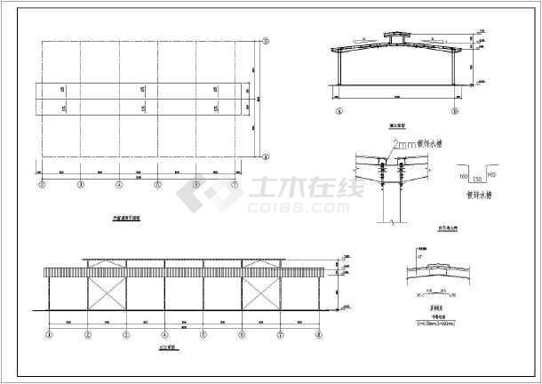 大棚式农贸市场钢结构建筑图(cad图纸下载)