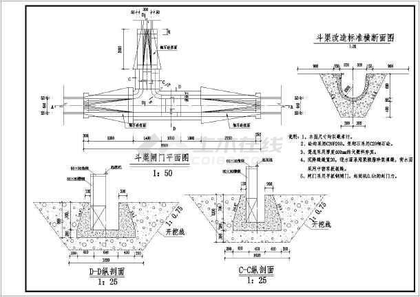某小型水利工程斗渠闸门结构布置图