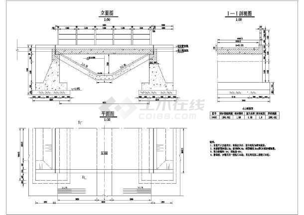 某处的暗涵公路桥的结构图的设计图纸