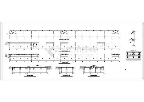 建筑平面图,立面图,剖面图,结构设计说明,刚架及支撑平面布置图,墙梁