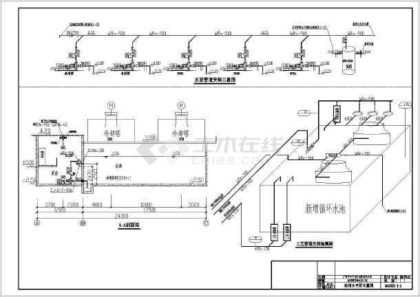 某工厂厂区循环冷却水池工艺设计图图片