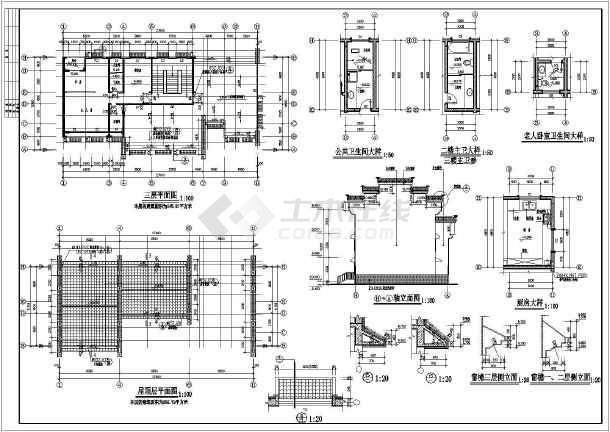 某异形柱框架结构别墅施工图(含建筑设计)-图1