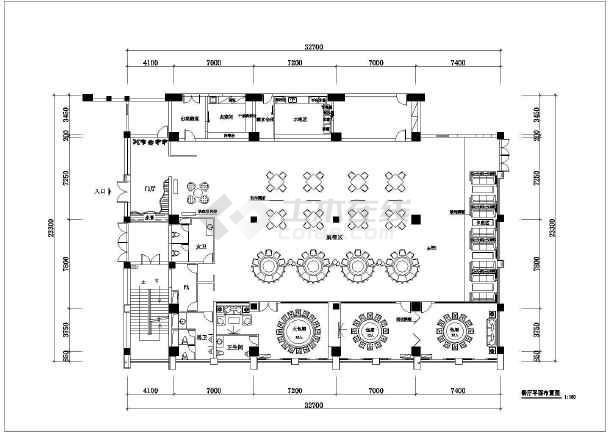现代时尚风格餐饮店平面设计布置图纸图片
