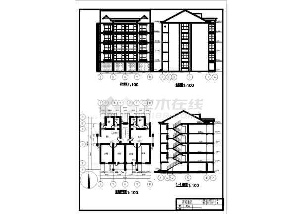 某学校房建专业学生的房屋建筑课程设计图片