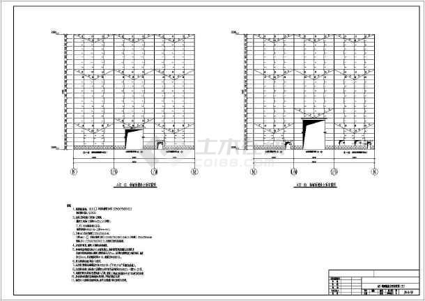 山東某400t吊車的廠房結構施工圖紙