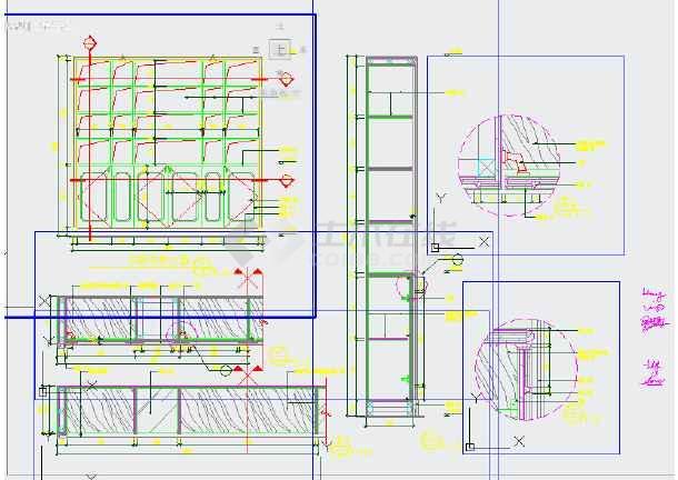 书房书柜节点详图cad素材(标注齐全),图纸内容包括:书房书柜立面图,可