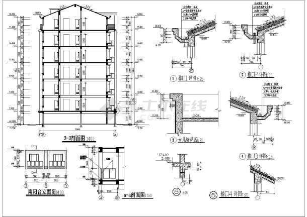 三单元单元式六层住宅楼建筑设计CAD施工图 含设计说明