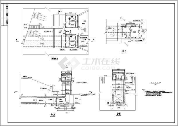 某小型水利工程背水闸启闭室结构布置图