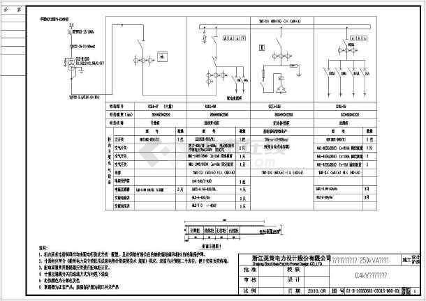 160kva油变配电室线路配电全套施工图