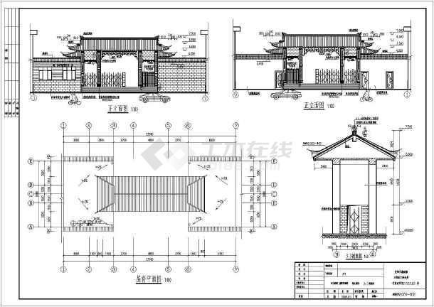 某古典园林式大门建筑设计施工图纸