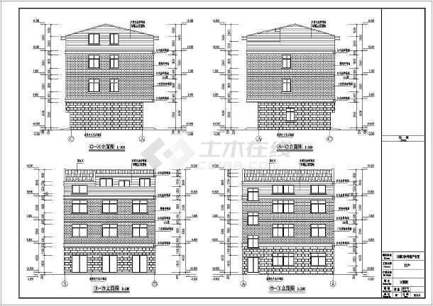 某地三层框架结构农村别墅建筑设计施工图