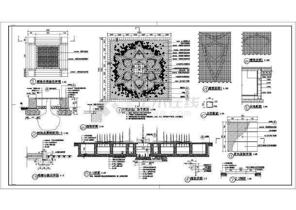 某广场园林旱喷及树池坐凳设计施工图