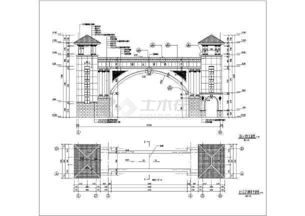 某小区景观大门门楼建筑施工图(含平,立面图及局部详图)