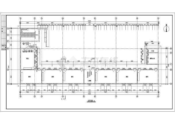一个18班年级教学楼建筑方案设计图_cad小学本绘图纸小学一