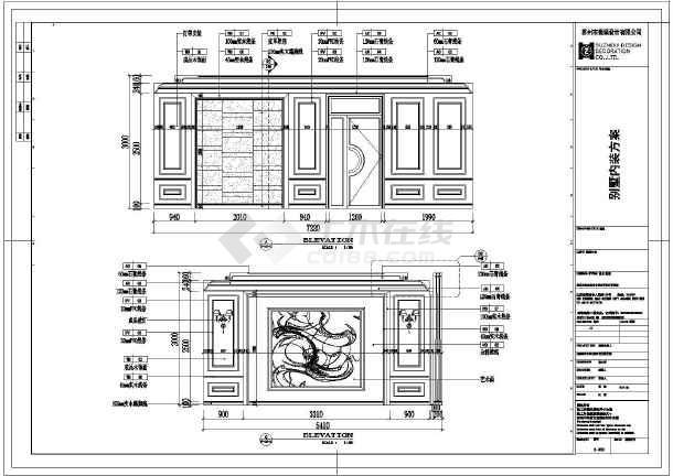 某欧式小型会所装修施工图纸(含效果图)