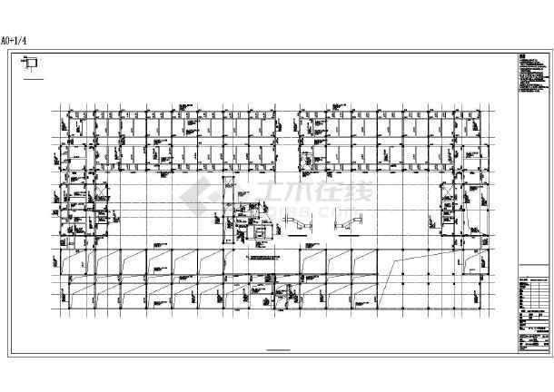 七层框架结构师范大学宿舍楼结构施工图(回字形 中间有走廊)图片1