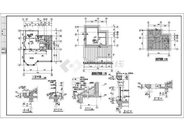 某三层别墅建筑设计图(长15.6米 宽11.34米)