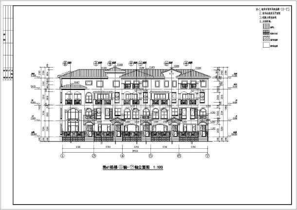 某地地中海电源联排别墅风格建筑图纸乐华1337图纸全套图片