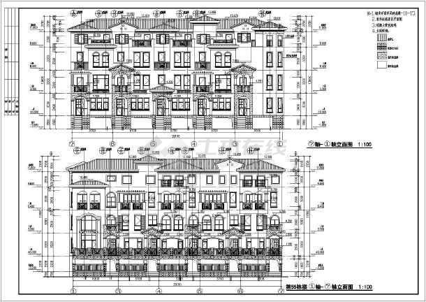 某地地中海风格联排别墅全套建筑图纸基准线图纸加怎么ug图片