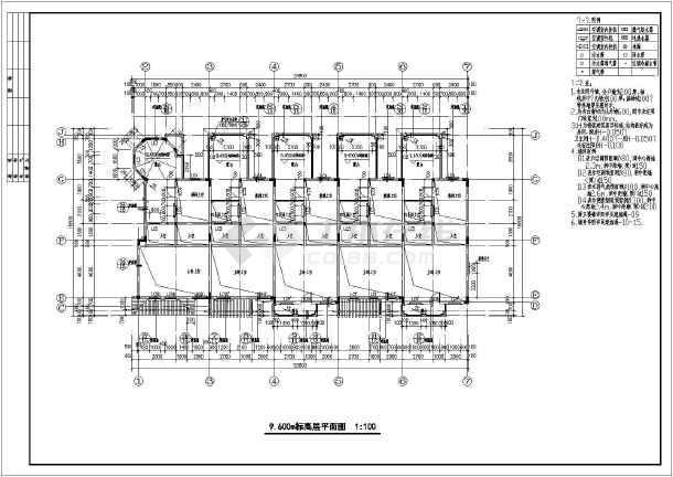 某地地中海图纸联排别墅风格建筑图纸皮沙发全套图片