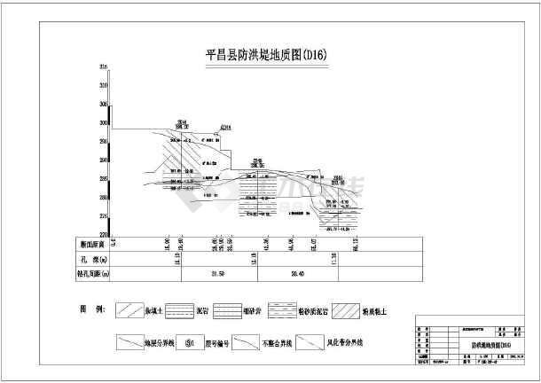 城区防洪护岸工程某防洪堤结构布置图