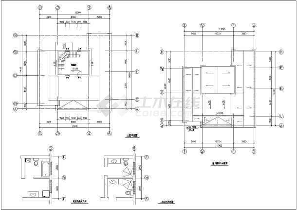 某三居室小别墅建筑设计方案图(混砖结构)