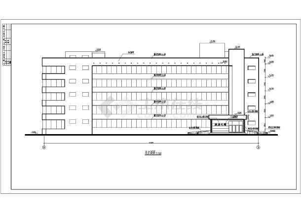 某地五层框架结构精神病疗养院建筑设计方案图cad居住区v框架平面图图片