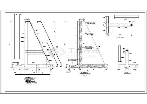 某地悬臂式挡土墙和扶壁式挡土墙结构图