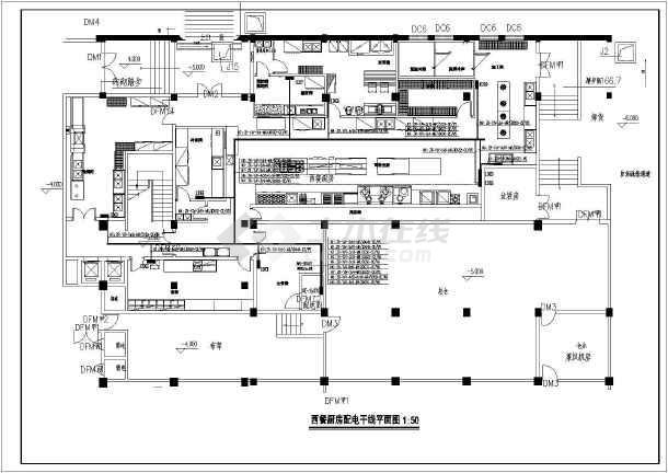 某酒店西餐厨房电气设计图纸(强电部分)