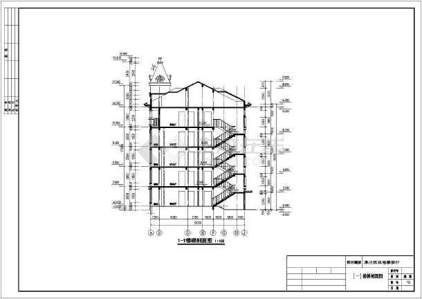 某地区5层框架结构小区住宅楼建筑图