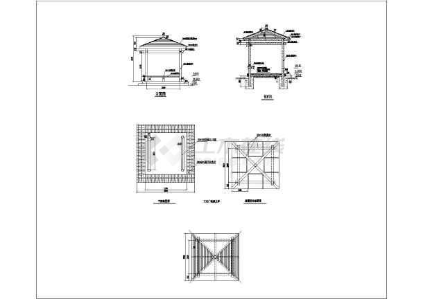 某小区防腐木凉亭建筑设计施工图