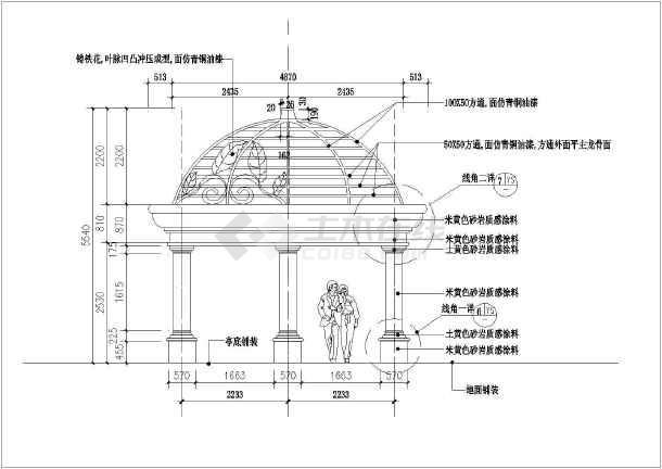 欧式四柱铁艺树叶圆顶景观亭施工图