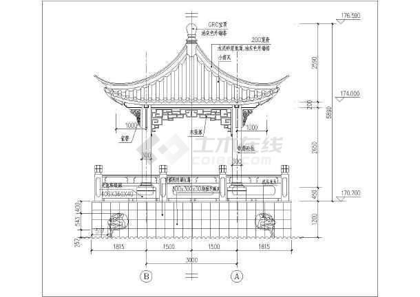 某地区筋混凝土中式四角亭景观设计施工图纸