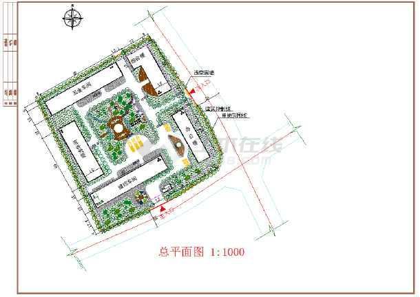 某工厂总平面绿化,围墙建筑设计图