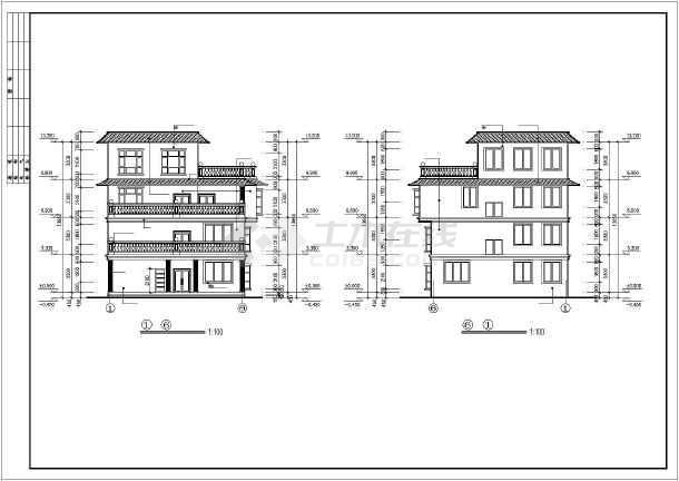 框架四層平屋頂自建房屋建筑設計圖紙