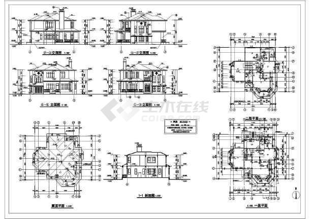 跪求一份小别墅设计图 有立剖的 谢谢