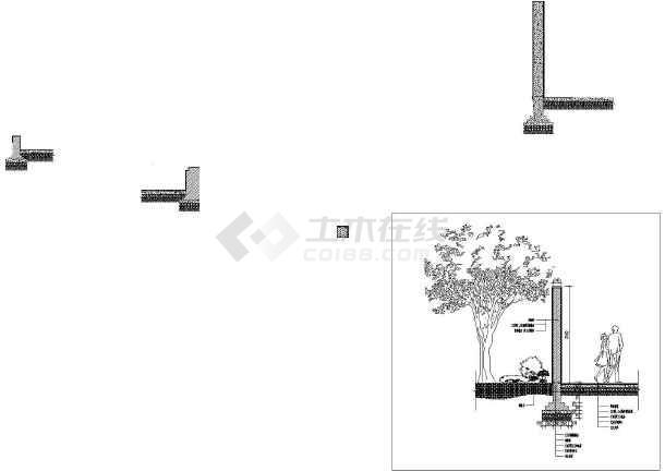 某小区入口带花池logo景墙施工详图