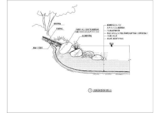 图纸景观工程驳岸详图结构小区做法_cad溪流cade数字显示图片
