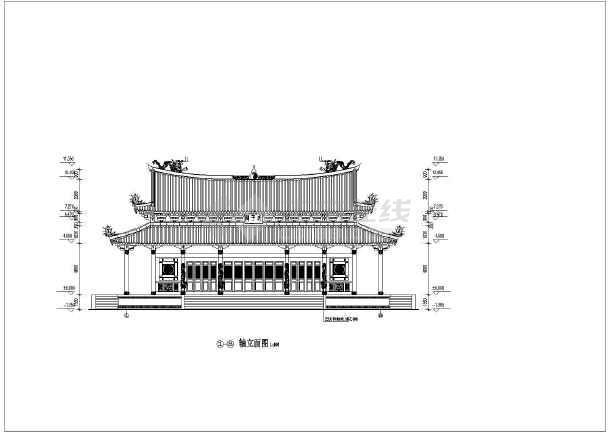 图纸 建筑图纸 古建筑设计 仿古建筑 某地重檐歇山顶九脊殿古建建筑