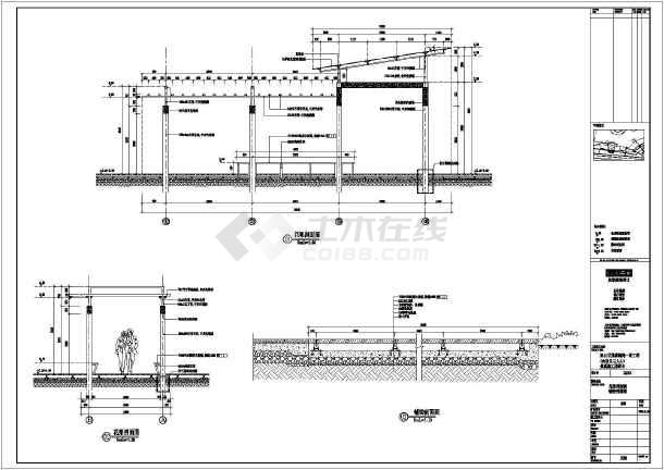 江苏省两套屋顶及地面花架建筑设计图(cad图纸下载)
