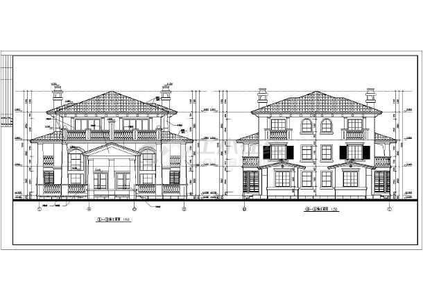 【上海】某三层双拼别墅建筑设计图