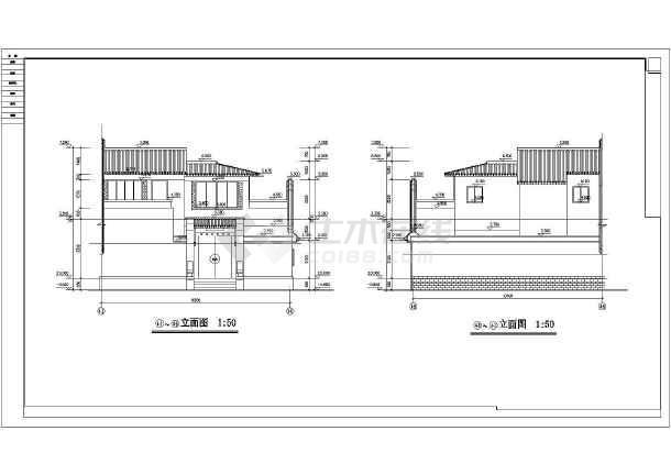 北方某四合院建筑设计图(含效果图)_cad图纸下载-土木