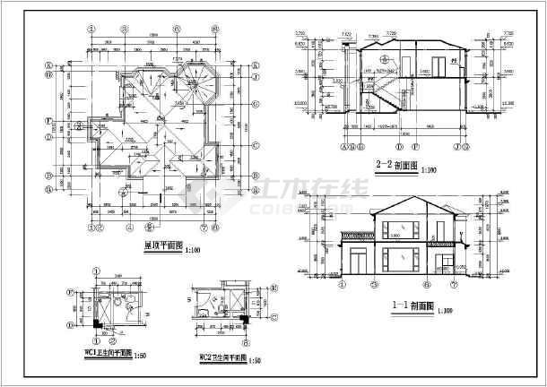 本图纸为:某二层别墅建筑施工图(长13.83米 宽13.