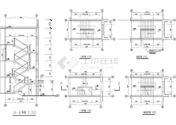 某砖混结构折板楼梯建筑结构设计详图_cad图纸下载